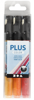 Plus Color Acryl Markerset / 3er Set Purpurrot, Kürbis, Sonnengelb