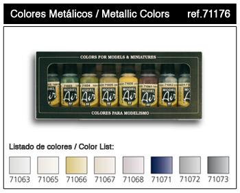 Vallejo ModelAir Farbset / Metallic 8 x 17ml