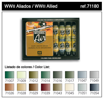 Vallejo ModelAir Farbset / WWII Allied Set 16 x 17ml