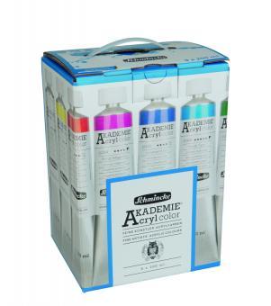 Akademie Acryl Color Kartonset 9 x 200ml Schmincke Sorte 23