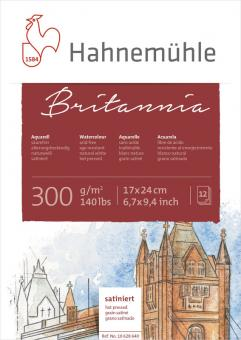Aquarellblock Britannia, satiniert, 300 g/m², 12 Blatt, 17 x 24cm